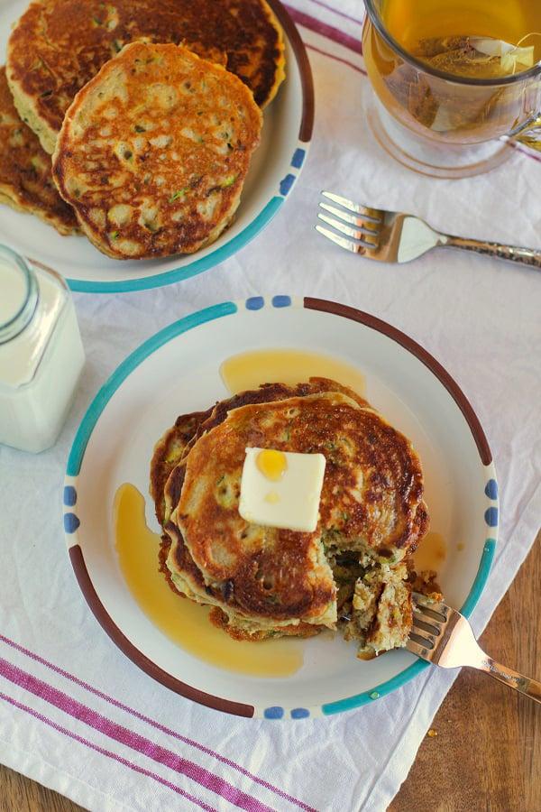 Gluten-Free Zucchini Pancakes   TheRoastedRoot.net #healthy #recipe #breakfast