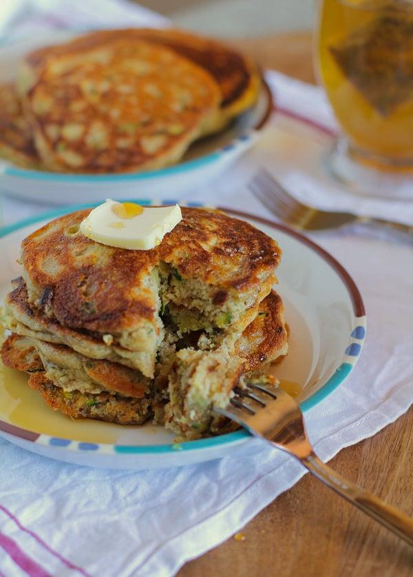 Gluten-Free Zucchini Pancakes | TheRoastedRoot.net #healthy #recipe #breakfast