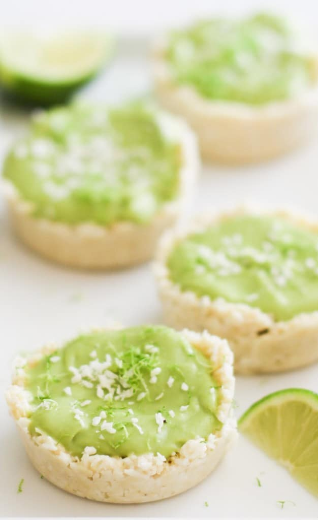 No-Bake Vegan Key Lime Tarts - made with avocado, coconut oil, and maple syrup! | theroastedroot.net #paleo #healthy #dessert #recipe #dairyfree