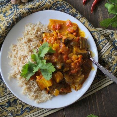 Roasted Eggplant and Mushroom Curry   TheRoastedRoot.net #vegan #vegetarian #recipe #dinner #healthy