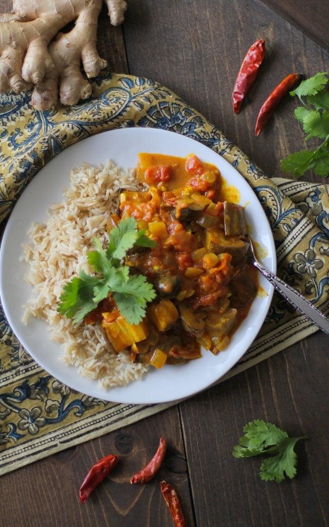 Roasted Eggplant and Mushroom Curry | TheRoastedRoot.net #vegan #vegetarian #recipe #dinner #healthy