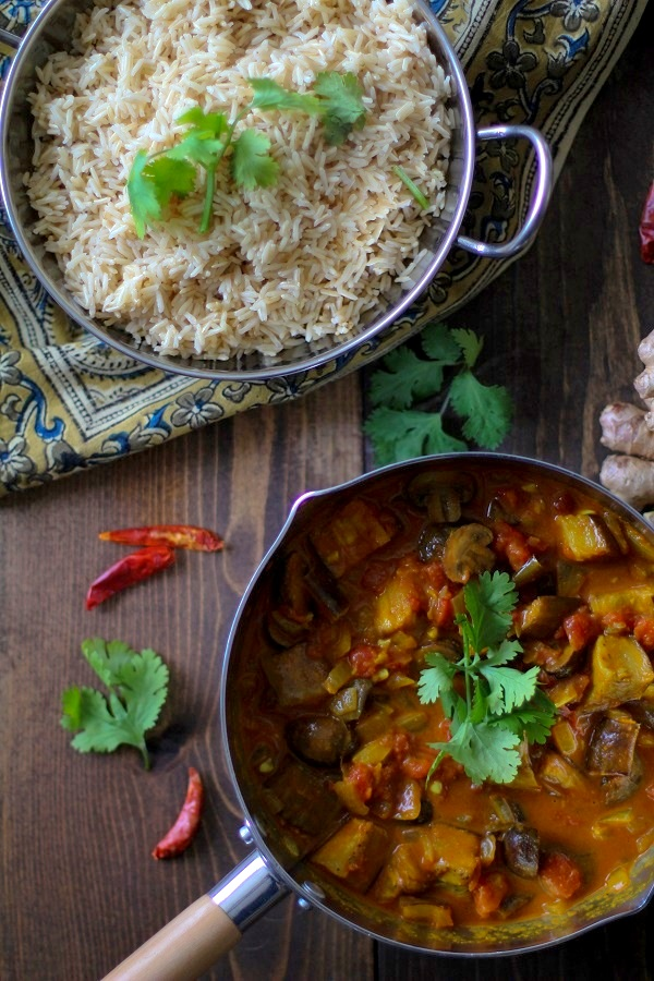 Roasted Eggplant and Mushroom Curry | TheRoastedRoot.net #vegan #vegetarian #recipe #dinner #healthy