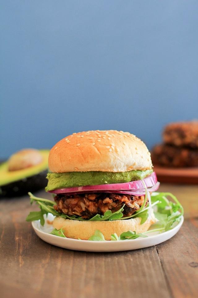 Spicy Black Bean Veggie Burgers | theroastedroot.net #healthy #vegan #vegetarian #recipe