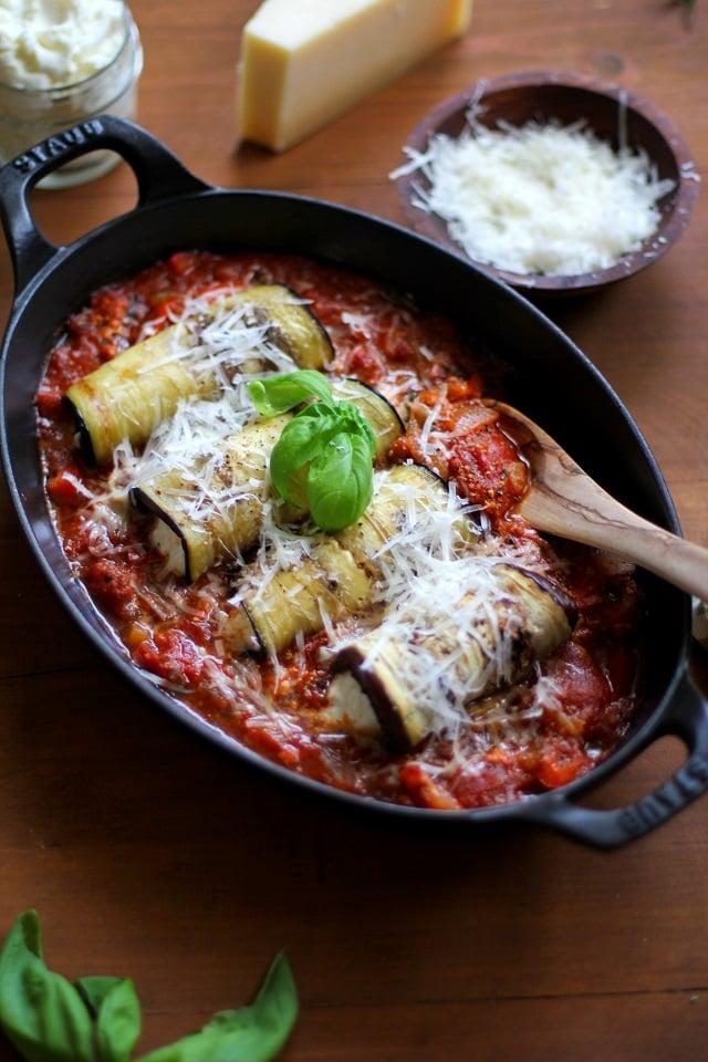 Eggplant Involtini with Moroccan Marinara Sauce - gluten-free! | TheRoastedRoot.net #glutenfree #healthy #recipe #italian