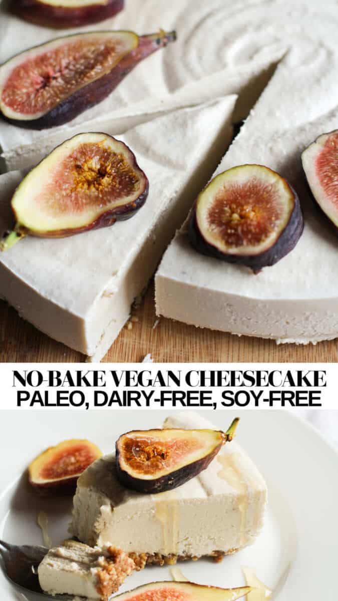 No-Bake Vegan Cheesecake made with raw cashews (no tofu) and pure maple syrup. Paleo, dairy-free, creamy, delicious!