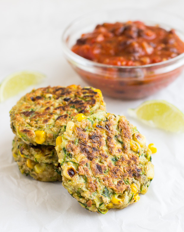 Zucchini Corn Fritters with Black Bean Salsa + 6 Healthy Zucchini Recipes #glutenfree