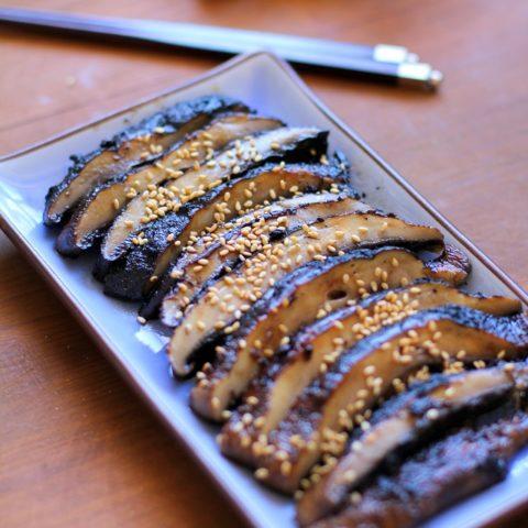 Balsamic-Ginger Grilled Portobello Mushrooms - a healthy side dish or appetizer | TheRoastedRoot.net #vegetarian #recipe #vegan #healthy