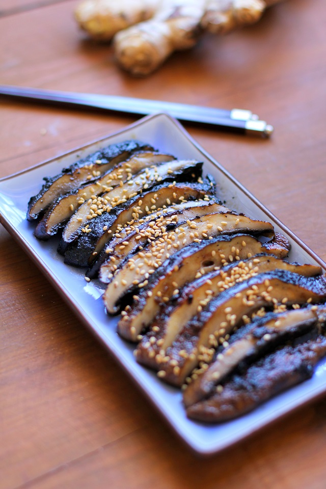 Balsamic-Ginger Grilled Portobello Mushrooms - a healthy side dish or appetizer | TheRoastedRoot.net #vegetarian #recipe #vegan #healthy
