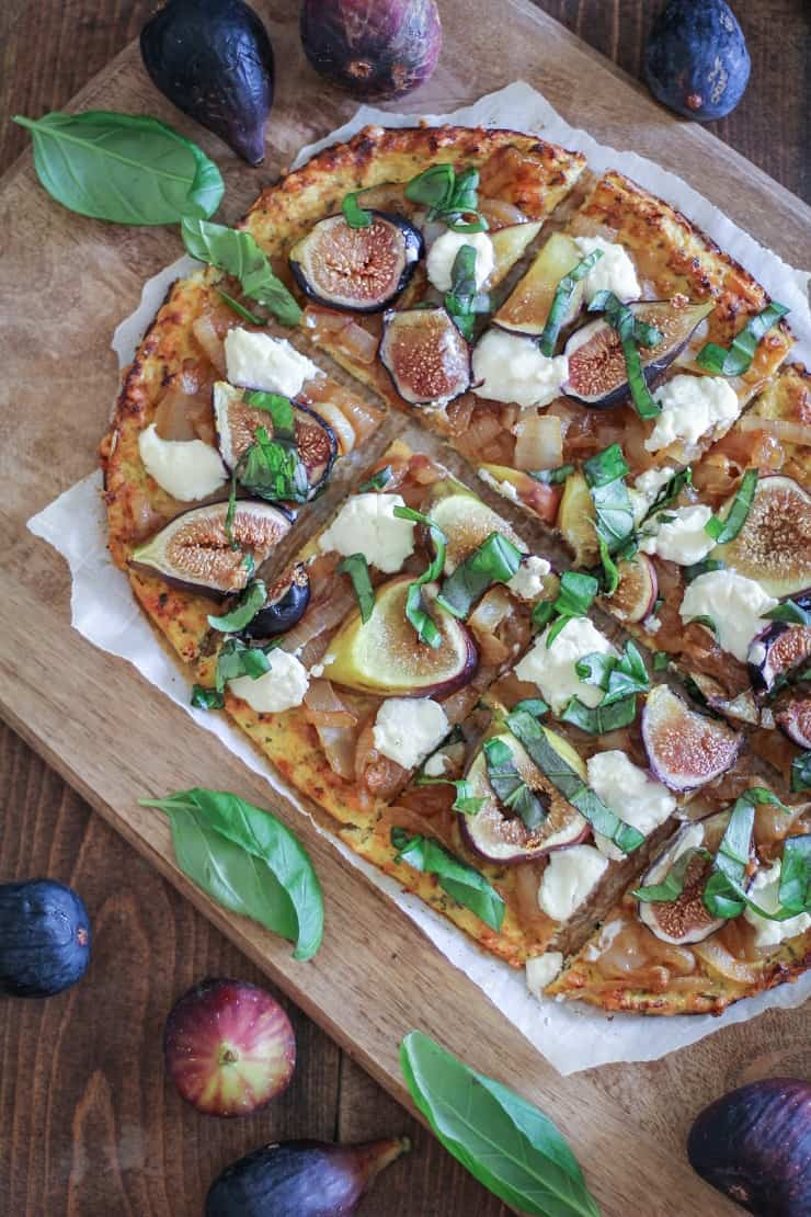 Caramelized Onion, Fig, and Ricotta Pizza on Cauliflower Pizza Crust - gluten-free, grain-free, healthy