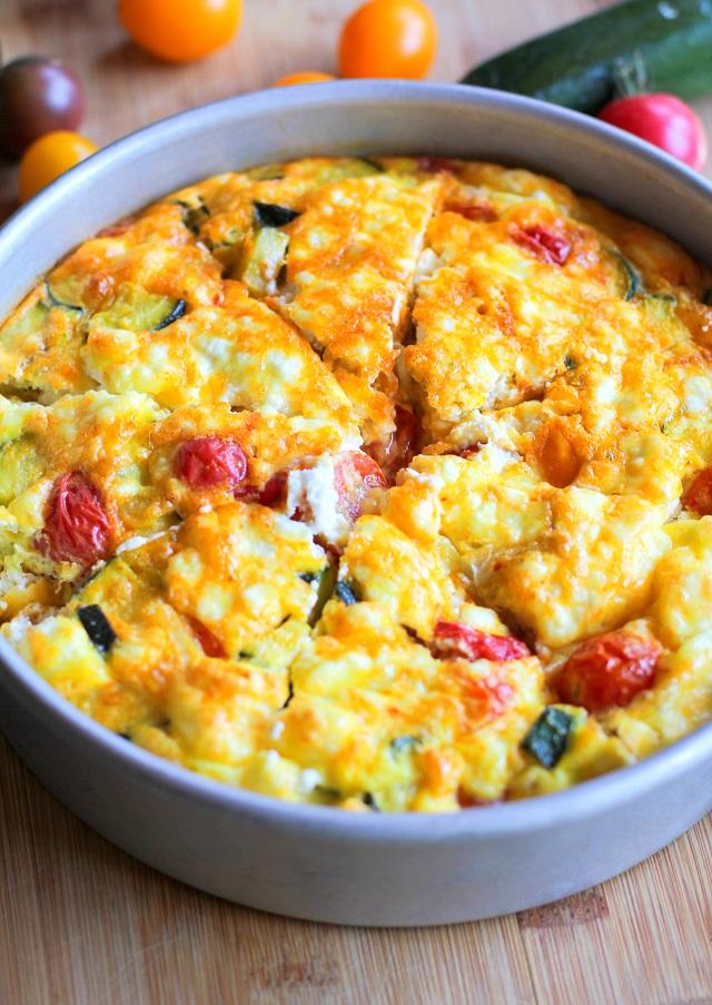 Goat Cheese, Tomato, and Zucchini Frittata + 6 Healthy Zucchini Recipes | TheRoastedRoot.net