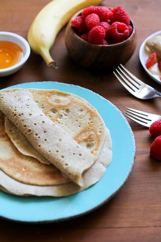 4-Ingredient Grain-Free Crepes made easily in a blender | TheRoastedRoot.net #glutenfree #paleo #breakfast #healthy