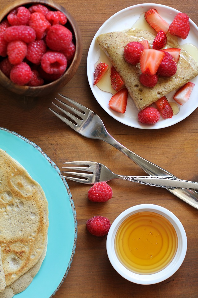 4-Ingredient Grain-Free Crepes made easily in a blender | TheRoastedRoot.net #glutenfree #paleo #breakfast #healthy