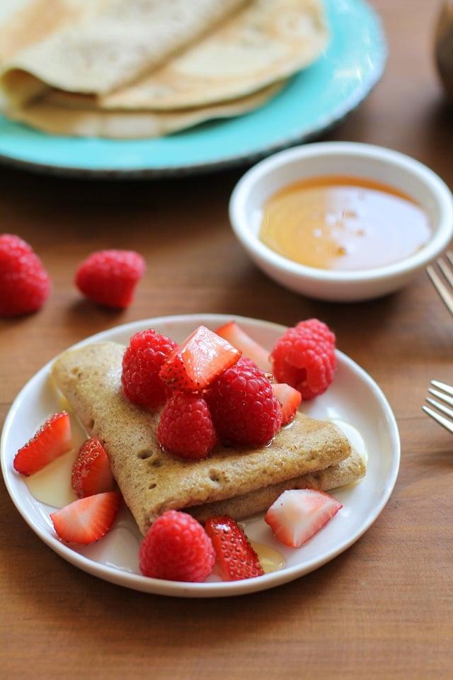 4-Ingredient Grain-Free Crepes made easily in a blender   TheRoastedRoot.net #glutenfree #paleo #breakfast #healthy