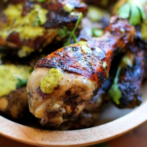 Grilled Chicken with Chimichurri Marinade | TheRoastedRoot.net #dinner #grilling #bbq #healthy #recipe #paleo