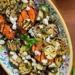 Grilled Sweet Potato, Zucchini, and Yellow Squash with Pesto Sauce and Feta Cheese | TheRoastedRoot.net #healthy #vegetarian #side_dish #bbq