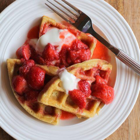 Grain-Free Paleo Waffles with Strawberry Compote | TheRoastedRoot.net #glutenfree #healthy #breakfast