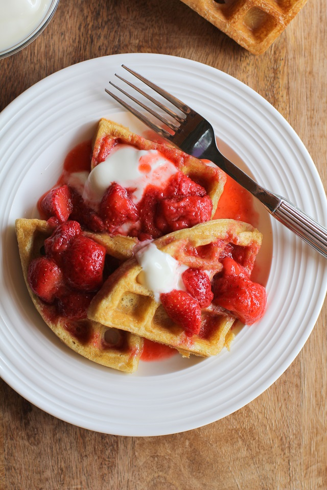 Grain-Free Paleo Waffles with Strawberry Compote | TheRoastedRoot.net #glutenfree #healthy #breakfast
