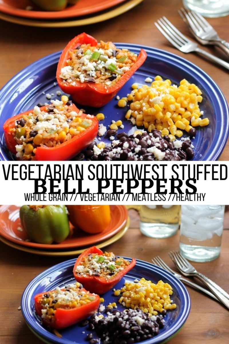 Southwest Stuffed Bell Peppers with beans, rice, corn, enchilada sauce, and more! Healthy meatless stuffed peppers with tons of flavor!