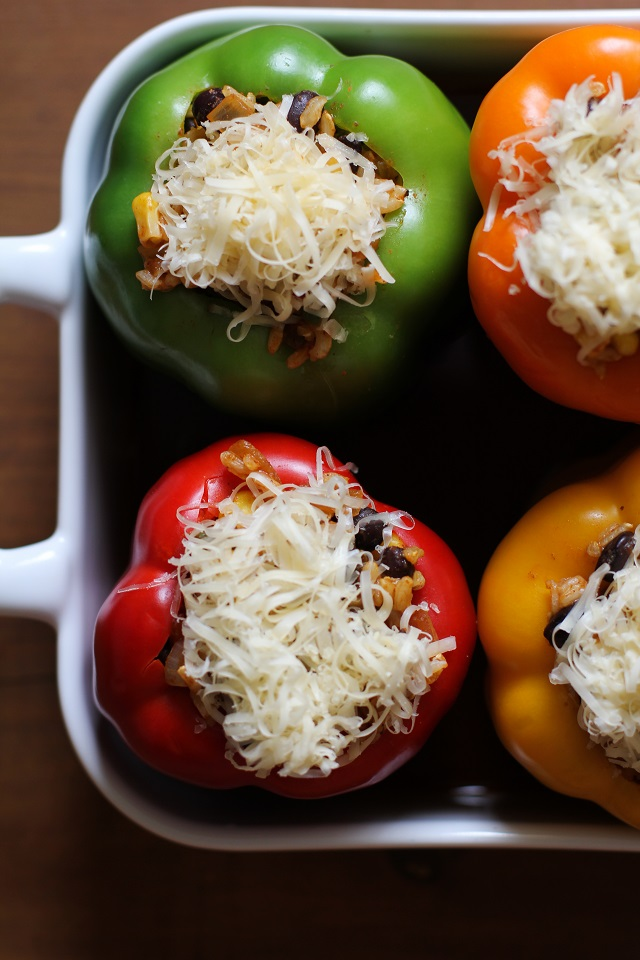 Southwest Stuffed Bell Peppers - an easy recipe for your weeknight meals! | TheRoastedRoot.net #vegetarian #healthy #dinner