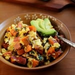 Breakfast scramble with sweet potatoes, bacon, and spinach | TheRoastedRoot.net #healthy #recipe #paleo
