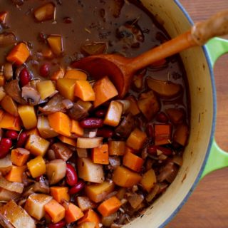 Warmly-Spiced Butternut Squash and Root Vegetable Chili with Pears