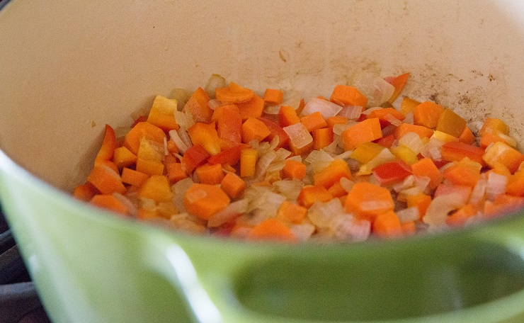 Saute the vegetables for corn chowder