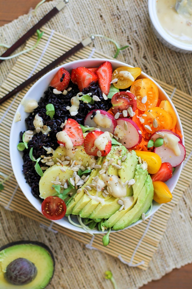 Farmer's Market Forbidden Rice Bowls with Tahini Apricot Sauce | TheRoastedRoot.net #healthy #vegan #recipe #vegetarian #paleo #glutenfree