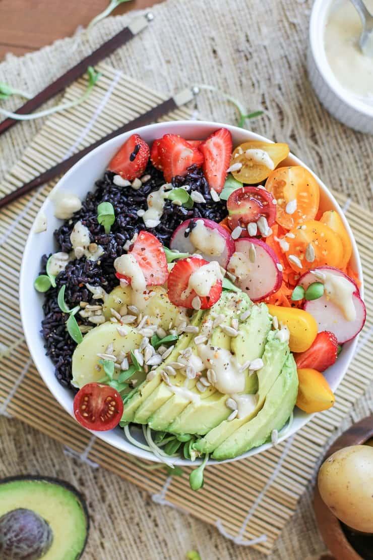 Farmer's Market Forbidden Rice Buddha Bowls with Apricot-Tahini Dressing - a nutritious vegan dinner recipe