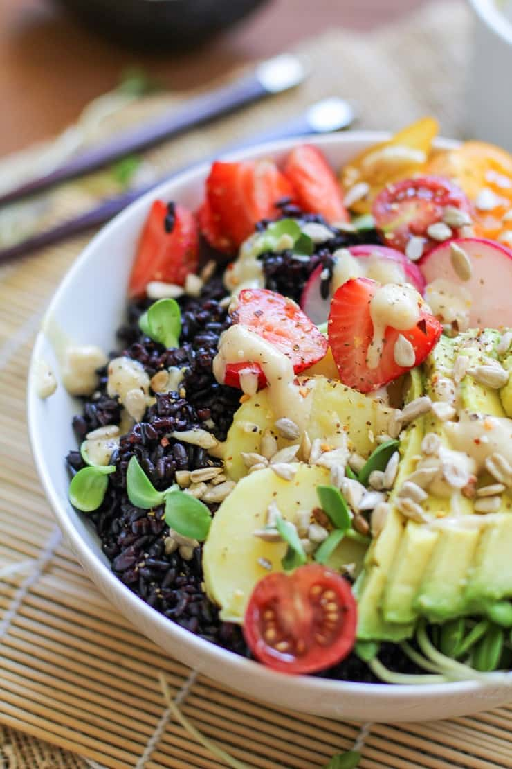 Farmer's Market Forbidden Rice Buddha Bowls with Apricot-Tahini Dressing - a nutritious paleo and vegan dinner recipe