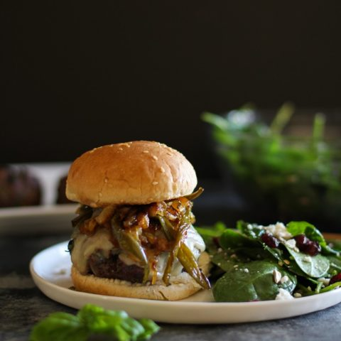 Herby Grilled Burgers with Caramelized Onions and Jalapenos | TheRoastedRoot.net