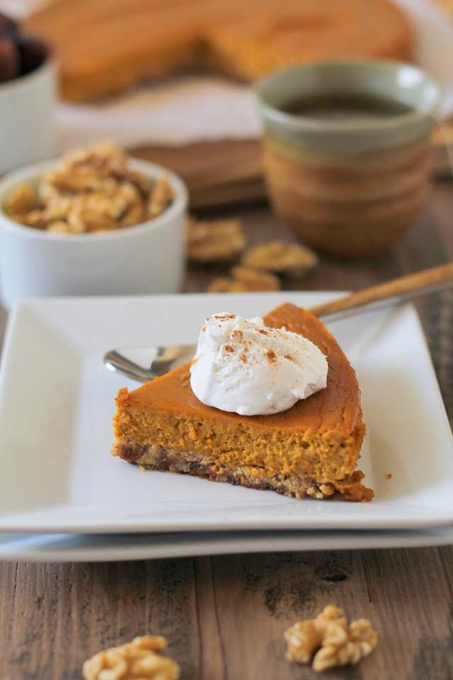 Paleo Pumpkin Pie - refined sugar free, dairy free, gluten free, and healthy! | TheRoastedRoot.net #dessert #pumpkin #recipe #healthy