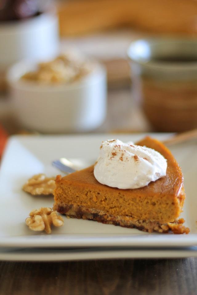 Paleo Pumpkin Pie - refined sugar free, dairy free, gluten free, and healthy! | TheRoastedRoot.net #dessert #pumpkin #recipe #healthy