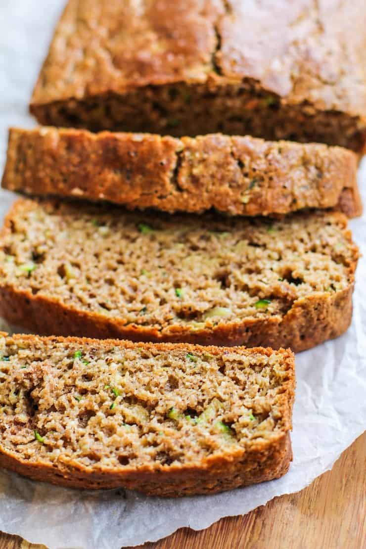 Paleo Zucchini bread made with almond flour, tapioca flour, and coconut flour - naturally sweetened, grain-free and gluten-free zucchini bread recipe