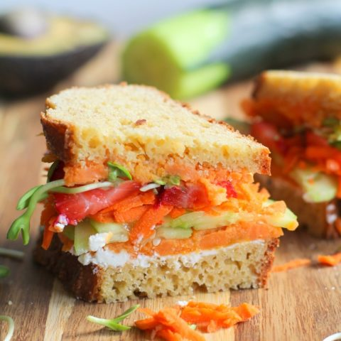 The Ultimate Garden Vegetable Sandwich with roasted sweet potato, cucumber, carrot, sunflower greens, and herbed goat cheese | TheRoastedRoot.net #healthy #vegetarian #lunch #recipe