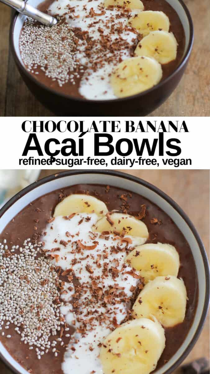 Chocolate Banana Acai Bowls with coconut milk and cinnamon - a thick, creamy, delicious superfood vegan breakfast recipe!