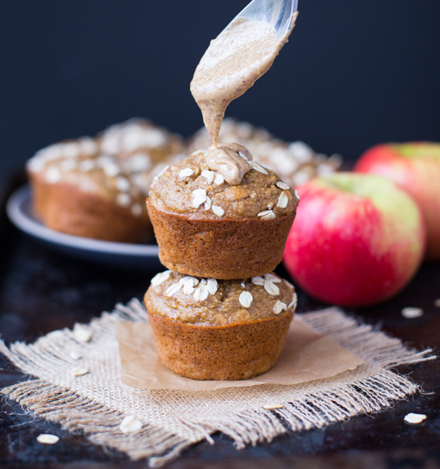 Healthy Apple Almond Butter Muffins - gluten-free and refined sugar-free