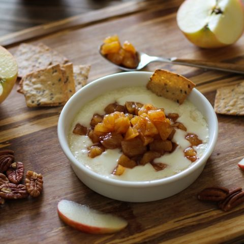 Baked Brie with Maple Spiced Apples | TheRoastedRoot.net #fall #appetizer #cheese