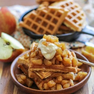 Grain-Free Waffles with Spiced Apples and Caramel Sauce