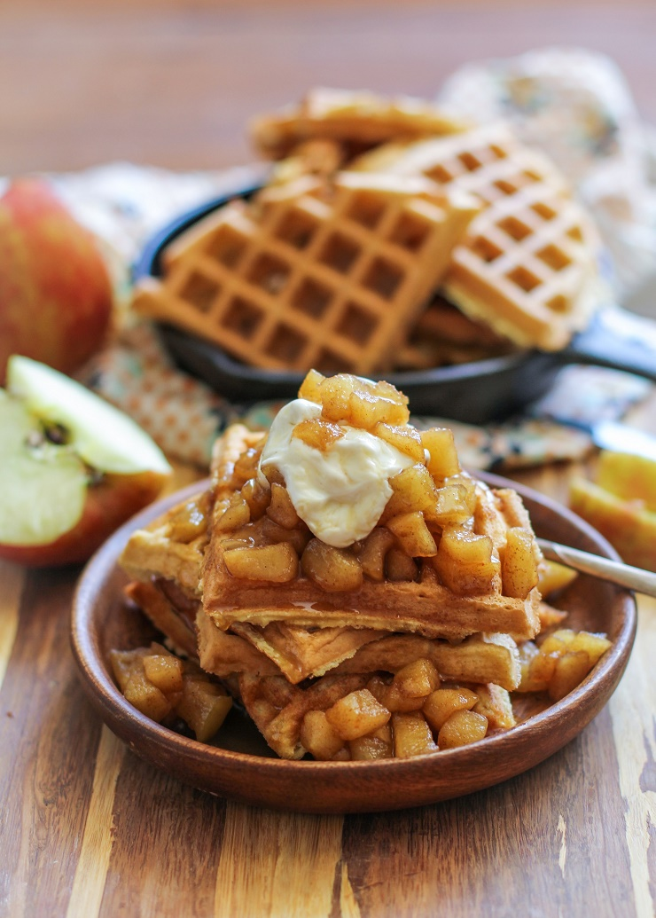 Grain-free waffles made with coconut flour with warmly-spiced apples and homemade paleo caramel sauce -| TheRoastedRoot.net #healthy #breakfast #recipe #paleo