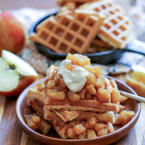 Grain-Free Waffles with Spiced Apples and Homemade Caramel - paleo, gluten-free, refined sugar-free, and healthy!