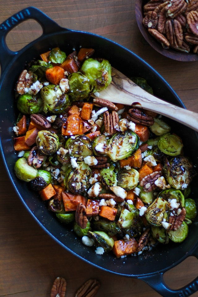 Roasted Brussels Sprouts and Sweet Potatoes with Pecans, Feta, and ...