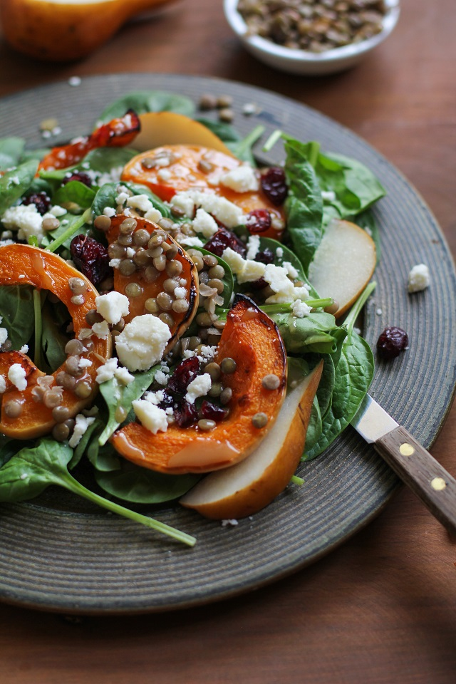 Roasted Butternut Squash and Pear Salad with lentils, feta cheese, dried cranberries, and citrus sage vinaigrette   TheRoastedRoot.net #healthy #superfood #salad #recipe #fall