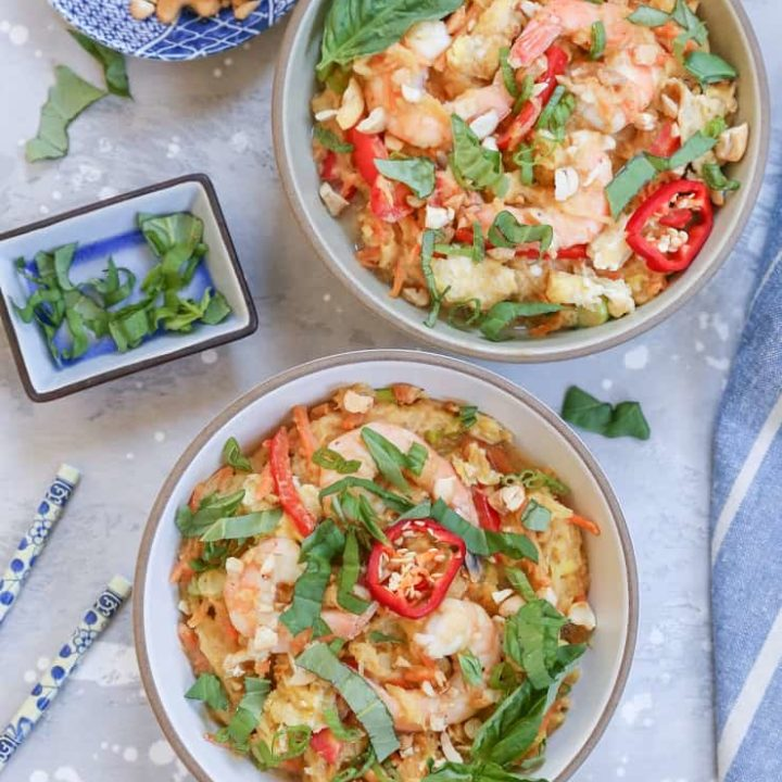 Spaghetti Squash Pad Thai with cashew-ginger sauce - gluten-free, soy-free, paleo, and healthy!
