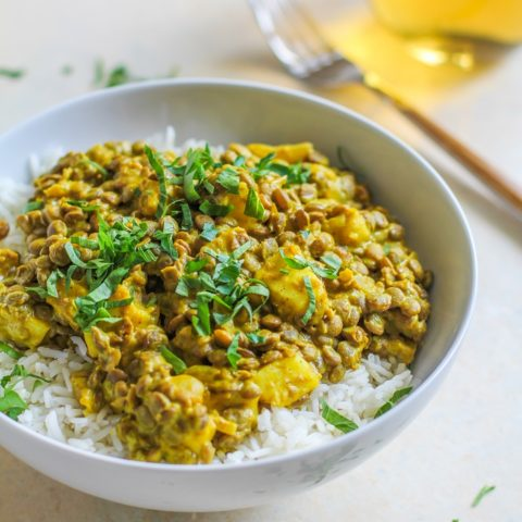 Yellow Curry Lentils and Halloumi - a flavor-packed healthy vegetarian meal | TheRoastedRoot.net #dinner #recipe