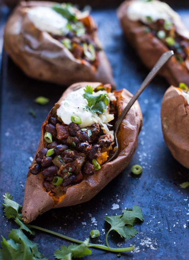 Black Bean Chipotle Stuffed Sweet Potatoes