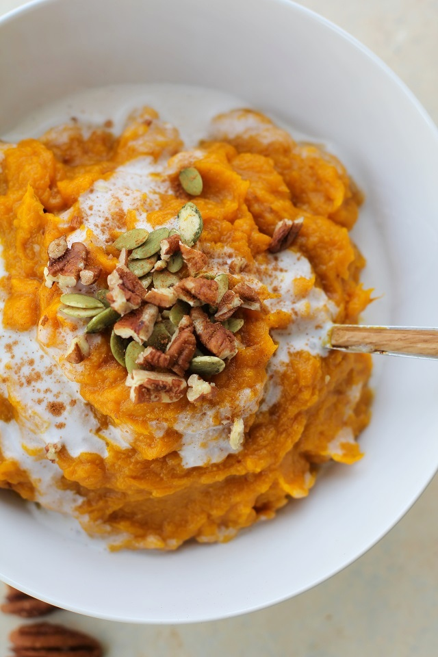 Creamy Kabocha Squash Mash - dairy-free, paleo, and vegan - a healthy side dish for the holidays! TheRoastedRoot.net