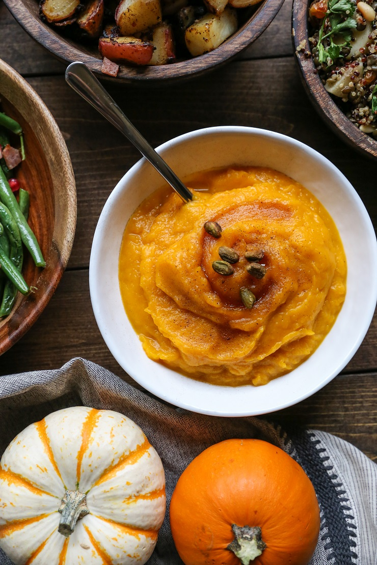 Mashed Kabocha Squash with honey - a simple and healthful side dish recipe for the holidays #healthy #paleo