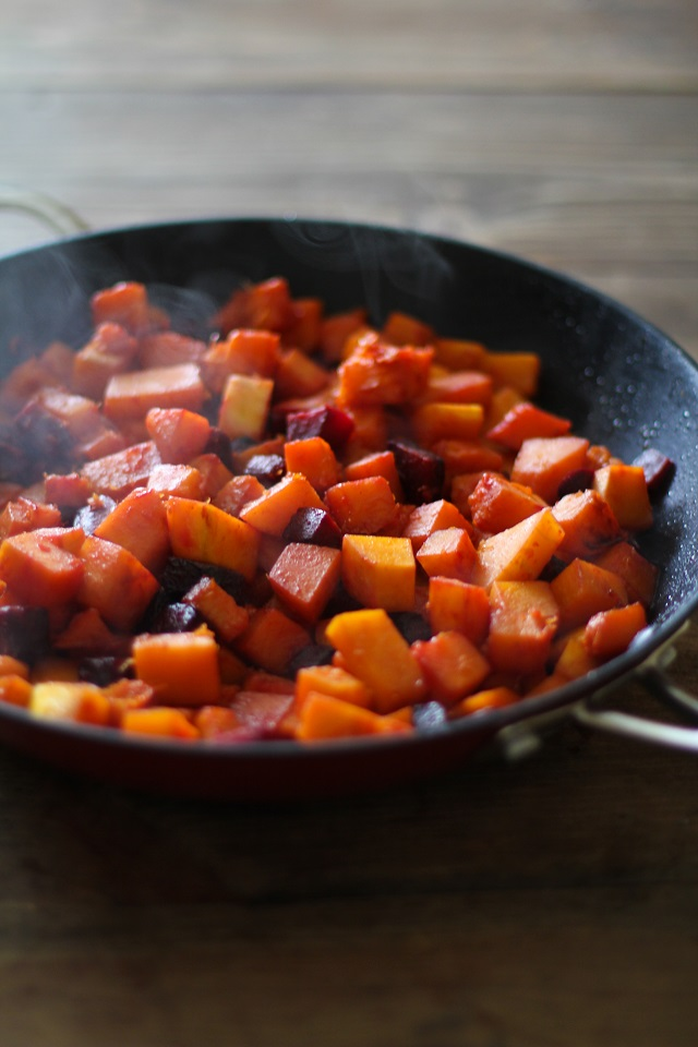 Orange Honey-Glazed Butternut Squash and Beets - a healthy side dish for fall and winter | TheRoastedRoot.net #recipe #vegetarian