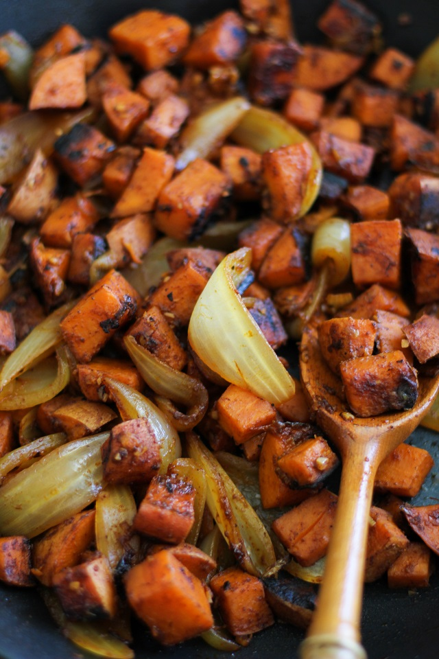 Sweet Potato Home Fries - a healthier version of the classic breakfast dish | TheRoastedRoot.net #vegetarian #breakfast #recipe #glutenfree #paleo