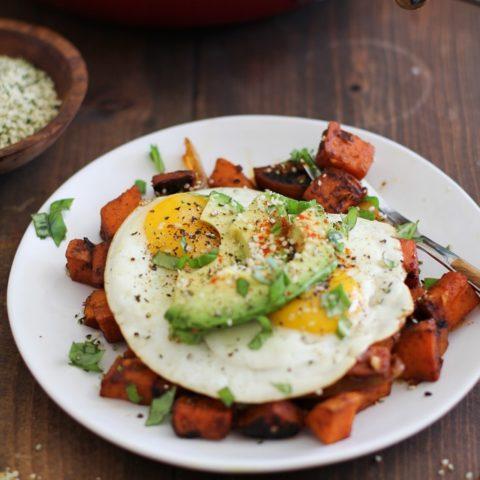 Sweet Potato Home Fries - a healthier version of the classic breakfast dish | TheRoastedRoot.net #vegetarian #breakfast #recipe #glutenfree #paleo